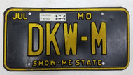 1993 Tag Missouri Show Me State License Plate DKW-M
