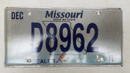 2011 MISSOURI Show Me State Dealer License Plate D8962 Blue Bird
