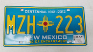 2015 NEW MEXICO Land of Enchantment Centennial 1912-2012 License Plate MZH-223 Zia Sun