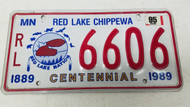 1995 MINNESOTA Red Lake Chippewa Nation Centennial 1889-1989 Tribal License Plate RL-6606 Native American Indian Feather