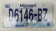 2016 MISSOURI Show-Me State Bluebird Dealer License Plate D6146-BZ