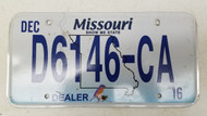 2016 MISSOURI Show-Me State Bluebird Dealer License Plate D6146-CA