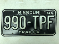 1984 MISSOURI Trailer License Plate 990-TPF