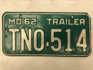 1962 MISSOURI Trailer License Plate TN0-514