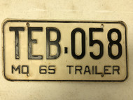 1965 MISSOURI Trailer License Plate TEB-058