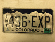 2005 COLORADO In-Transit Dealer License Plate 436-EXP Experience Mountains Snow