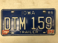 1986 (1992 Tag) IOWA Trailer License Plate DTM-159