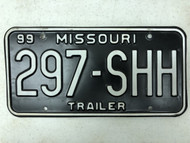 1999 MISSOURI Trailer License Plate 297-SHH Shh Quiet