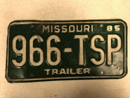 1985 MISSOURI Trailer License Plate 966-TSP