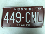 1991 MISSOURI Trailer License Plate 449-CNL cetified nurse leader