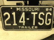 1984 MISSOURI Trailer License Plate 214-TSG