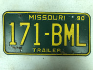 1990 MISSOURI Trailer License Plate 171-BML