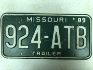 1989 MISSOURI Trailer License Plate 924-ATB