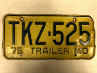 1975 MISSOURI Trailer License Plate TKZ-525
