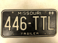 1988 MISSOURI Trailer License Plate 446-TTL