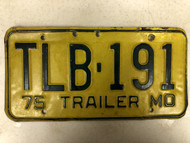 1975 MISSOURI Trailer License Plate TLB-191