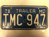 1978 MISSOURI Trailer License Plate TMC-947