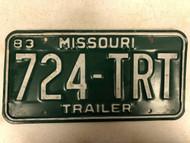 1983 MISSOURI Trailer License Plate 724-TRT
