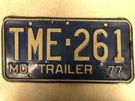 1977 MISSOURI Trailer License Plate TME-261