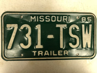 1985 MISSOURI Trailer License Plate 731-TSW