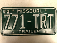 1983 MISSOURI Trailer License Plate 771-TRT