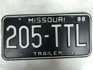1988 MISSOURI Trailer License Plate 205-TTL