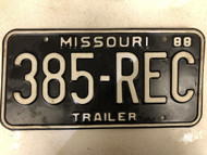 1988 MISSOURI Trailer License Plate 385-REC recording studio rec room