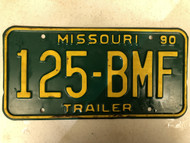 1990 MISSOURI Trailer License Plate 125-BMF
