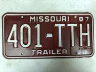 1987 MISSOURI Trailer License Plate 401-TTH
