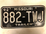 1982 MISSOURI Trailer License Plate 882-TWJ