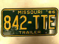 1986 MISSOURI Trailer License Plate 842-TTE
