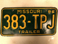 1986 MISSOURI Trailer License Plate 383-TPJ