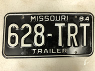 1984 MISSOURI Trailer License Plate 628-TRT