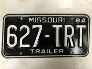 1984 MISSOURI Trailer License Plate 627-TRT