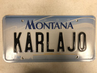 2000 MONTANA Big Sky License Plate KARLAJO Cow Skull Karl Carl