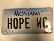 2000 (2002 Tag) MONTANA Big Sky License Plate HOPE-WC Hope Cow Skull