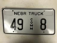 Expired NEBRASKA Howard County Commercial Truck License Plate 49-8 Low #