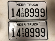 Expired NEBRASKA Adams County Commercial Truck License Plate 14-8999 PAIR