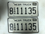 2004 Tag NEBRASKA Hall County Commercial Truck License Plate 8-11135 PAIR