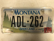 2007 Tag MONTANA Open Land License Plate ADL-262 Forest Trees Mountain River