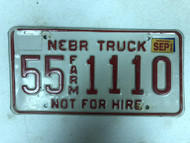 2002 Tag NEBRASKA Thurston County Not For Hire Farm Truck License Plate 55-1110
