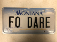 2000 MONTANA Big Sky License Plate FO-DARE Dare Cow Skull