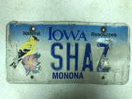 Expired IOWA Monona County Natural Resources License Plate SHAZ Bird Flower