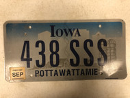 2007 Tag IOWA Pottawattamie County License Plate 438-SSS Cool # Farm Silo City Silhouette