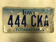 Expired IOWA Pottawattamie County License Plate 444-CKA Farm Silo City Silhouette