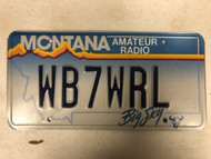 Expired MONTANA Big Sky Amateur Radio License Plate WB7WRL Cow Skull