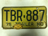 1975 MISSOURI Trailer License Plate TBR-887 & 1975 St. Louis Trailer Tab 179