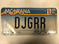 1996 Tag MONTANA Big Sky License Plate DJGRR Cow Skull