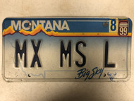 1999 Tag MONTANA Big Sky License Plate MX-MS-L Cow Skull