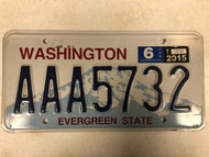 2015 Tag WASHINGTON Evergreen State License Plate AAA5732 Mountain Top Range